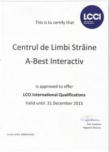LCCI certificat