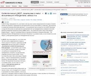 Conferinta marca A_BEST _Ascensiunea in mediul de business prin limba germana editia a III a Comunicate de presa